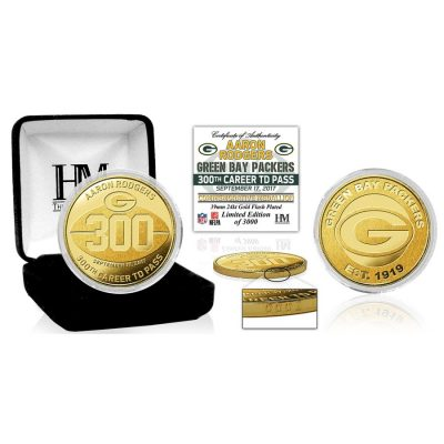 Aaron Rodgers Green Bay Packers Highland Mint 300th Career Touchdown Pass Gold Mint Coin