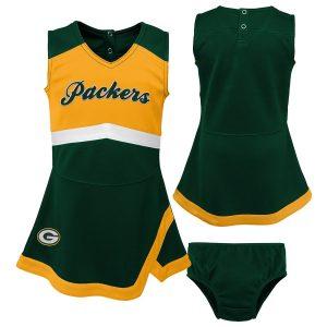 Green Bay Packers Girls Infant Green/Gold Cheer Captain Jumper Dress