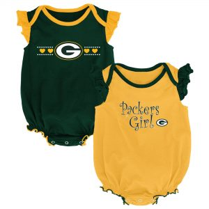 Green Bay Packers Girls Newborn Green/Gold Homecoming Two-Pack Bodysuit