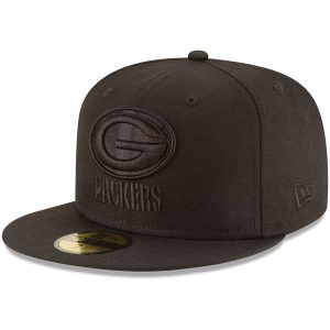 Green Bay Packers New Era Black on Black 59FIFTY Fitted Hat