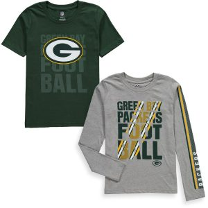 Green Bay Packers Youth Playmaker 3-In-1 Long/Short Sleeve T-Shirt Combo Pack