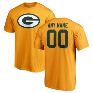 Men's Green Bay Packers NFL Pro Line Gold Personalized Name & Number Logo T-Shirt