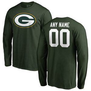 Men's Green Bay Packers Any Name & Number Logo Personalized Long Sleeve T-Shirt