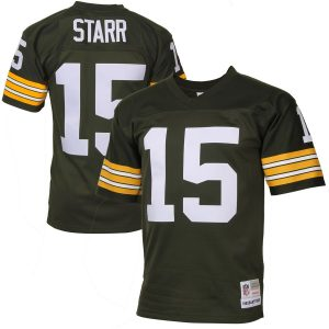 c59f6456 Mitchell & Ness Bart Starr Green Bay Packers Green Retired Player Vintage  Replica Jersey