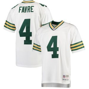 Mitchell & Ness Brett Favre Green Bay Packers White 1996 Replica Retired Player Jersey