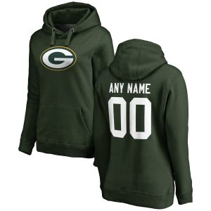 Green Bay Packers Women's Any Name & Number Logo Personalized Pullover Hoodie