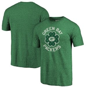 Green Bay Packers Kelly Green Luck Tradition Tri-Blend T-Shirt