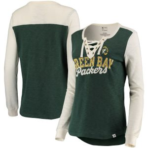 Women's Green Bay Packers Green/Cream True Classics Lace Up Long Sleeve T-Shirt