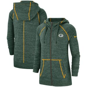 Women's Green Bay Packers Nike Heathered Green Gym Vintage Raglan Full-Zip Hoodie