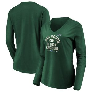 Women's Green Bay Packers Green 2019 NFC North Division Champions Long Sleeve V-Neck T-Shirt