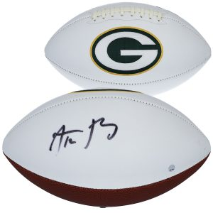 Aaron Rodgers Green Bay Packers Autographed White Panel Football – Signed on Large Panel
