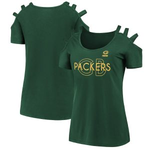 Green Bay Packers Women's Foil Open Shoulder Strap T-Shirt